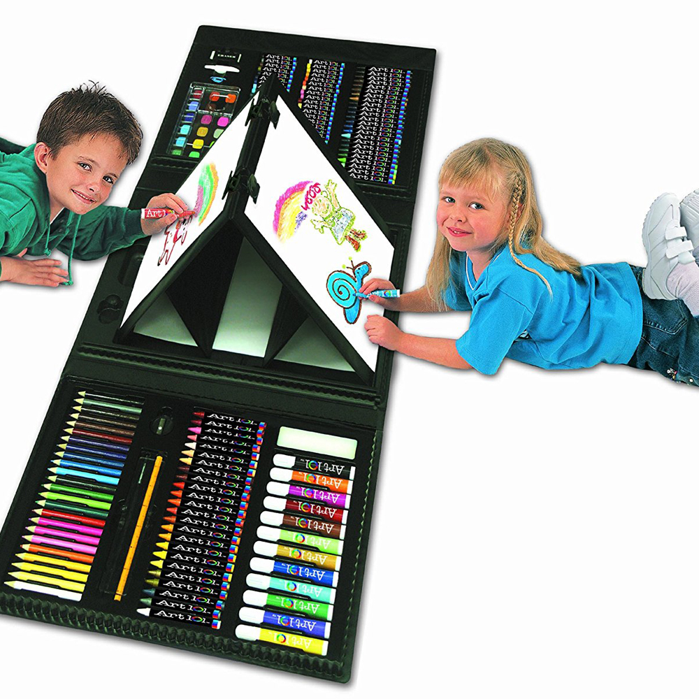 art 101 kids 179 piece double sided trifold easel art set 17 at