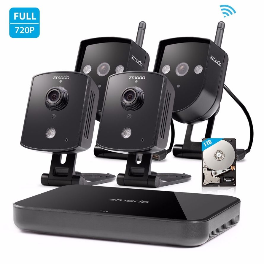Zmodo 4CH NVR 4 720p HD Wireless IP Network Home Security Camera
