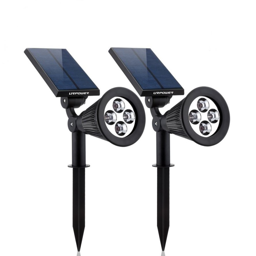 2 - Pack Solar Lights,URPOWER 2-in-1 Waterproof 4 LED Solar Spotlight
