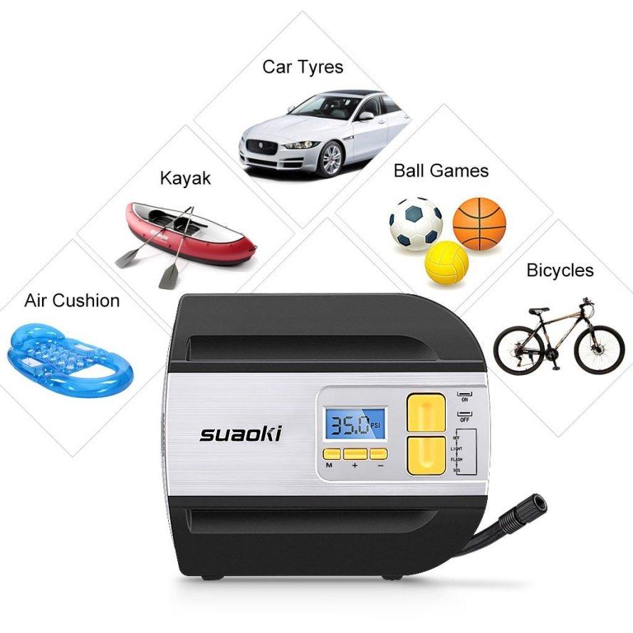 Suaoki 12V DC Tire Inflator Electric Portable Auto Air Compressor