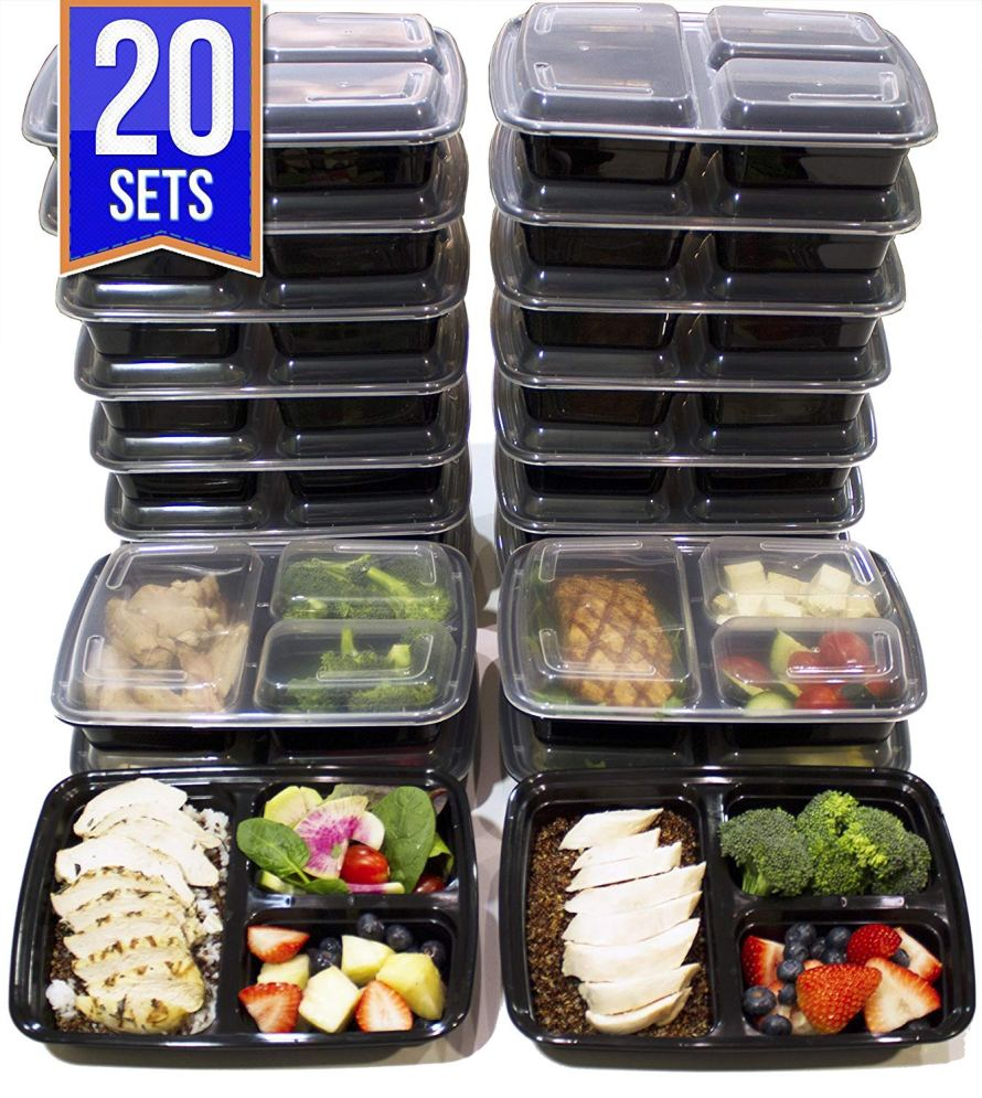 20 Pack 3 Compartment Meal Prep Containers BPA Free Portion Control Bento Boxes