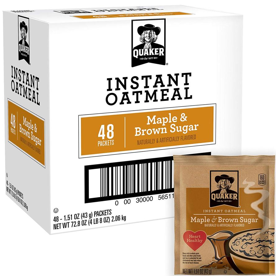 48 Packets Quaker Instant Oatmeal Maple Brown Sugar.jpg