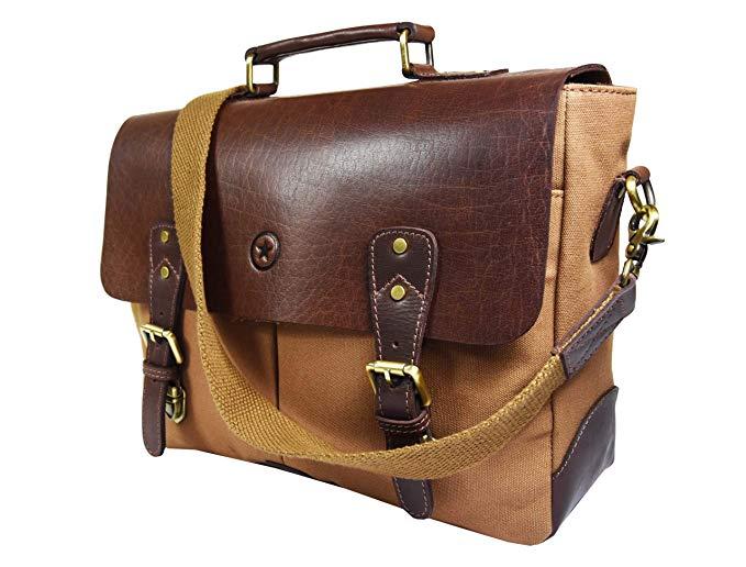 "Aaron Leather 14.5"" Vintage Handmade Leather Canvas Messenger Bag.jpg"