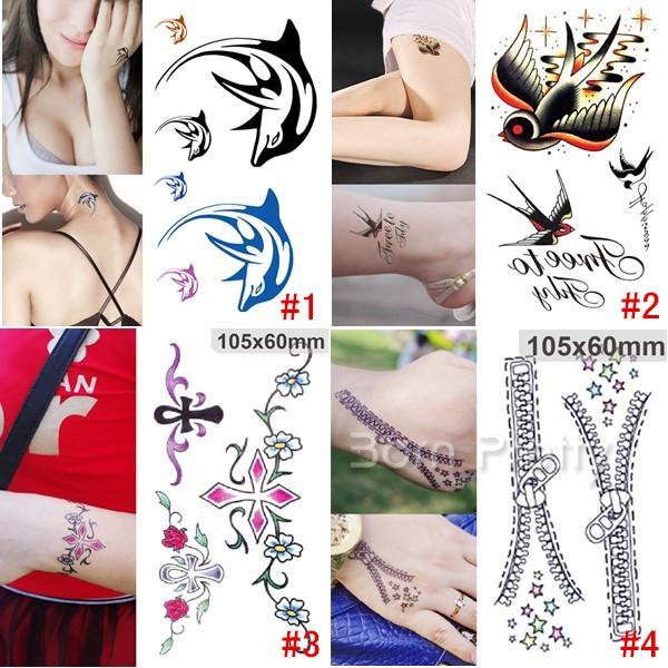 1 Sheet Dolphin Swallow Flower Zipper Tattoo Decals Waterproof Paper Temporary Tattoo.jpg