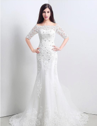 Charming Tulle Off-the-shoulder Mermaid Wedding Dresses.png