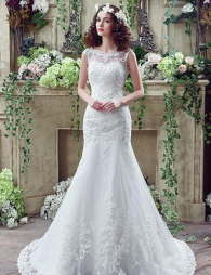 Elegant Tulle Bateau Neckline Mermaid Wedding Dresses.png