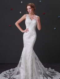 Elegant Tulle V-neck Mermaid Wedding Dress.png