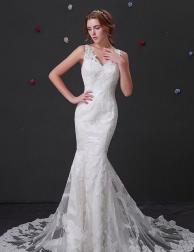 Elegant Tulle V-neck Mermaid Wedding Dress.png