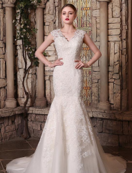 Romantic Tulle V-neck Neckline Lace Appliques Mermaid Wedding Dresses.png