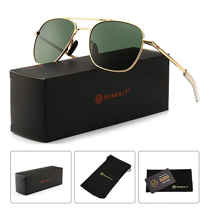 SUNGAIT Men's Military Style Polarized Pilot Aviator Sunglasses.jpg