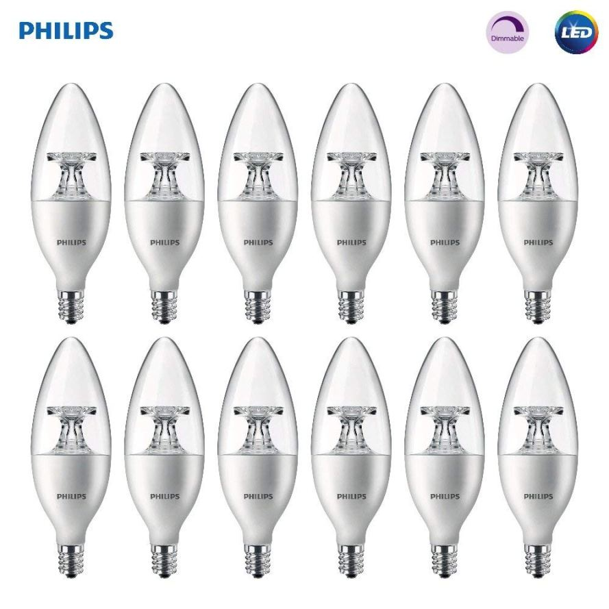 12 Pack Philips LED Dimmable B11 Clear Candle Light Bulbs.jpg