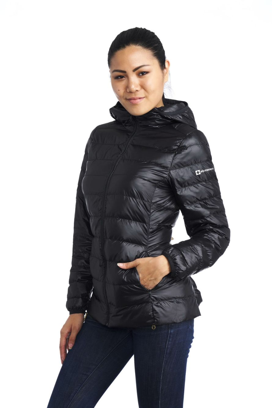 Alpine Swiss Womens Hooded Down Jacket Puffer Bubble Coat 30 With
