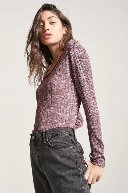 Contrast Ribbed Knit Top.png