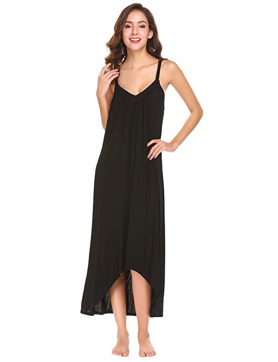 Ekouaer Womens Sleeveless Long Nightgown Summer Slip Night Dress Cotton