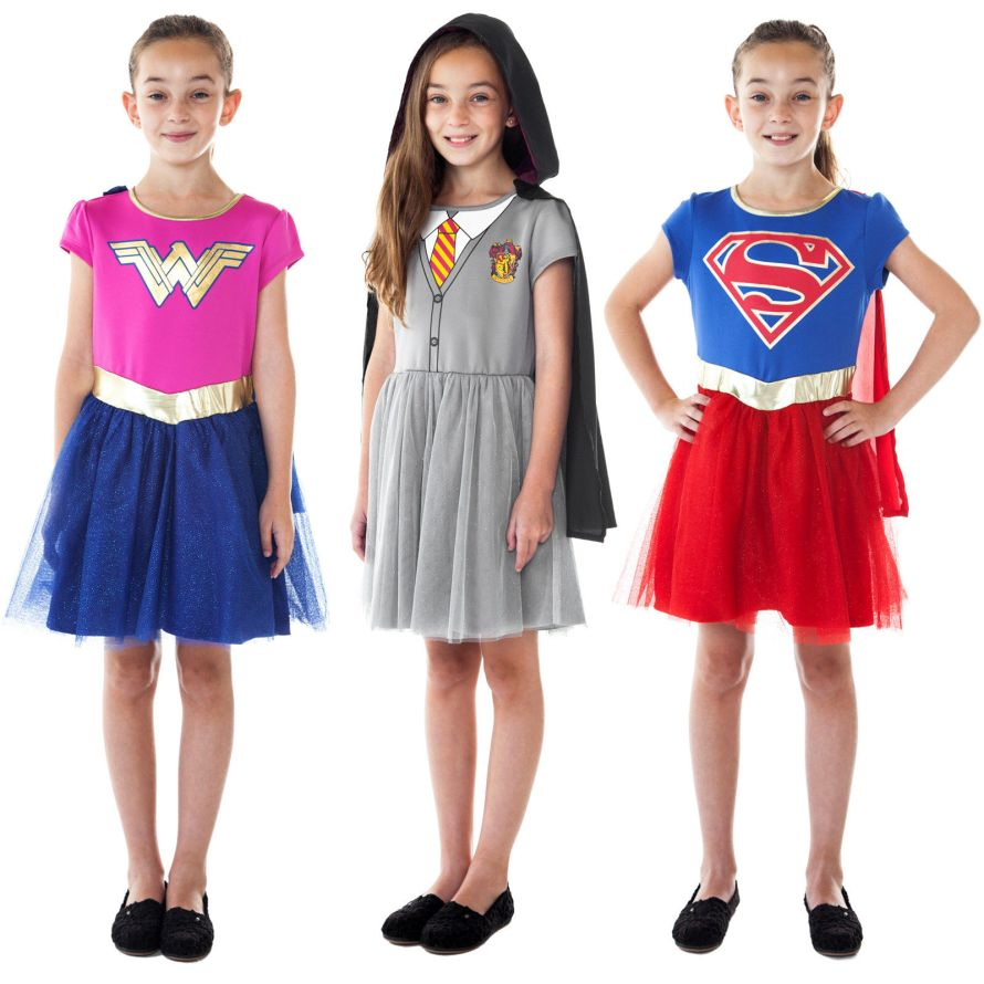 Girls Wonder Woman Supergirl Hermione Harry Potter Halloween Costume Dresses.jpg
