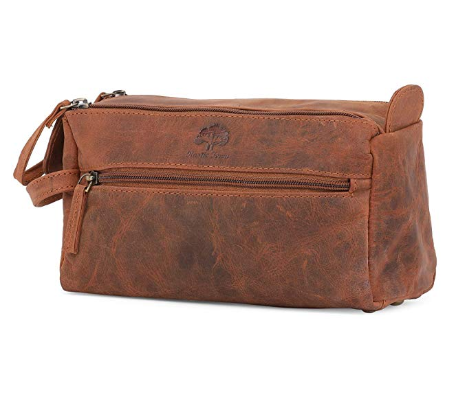 Leather Toiletry Bag compact Leather Dopp Kit for Travel.jpg