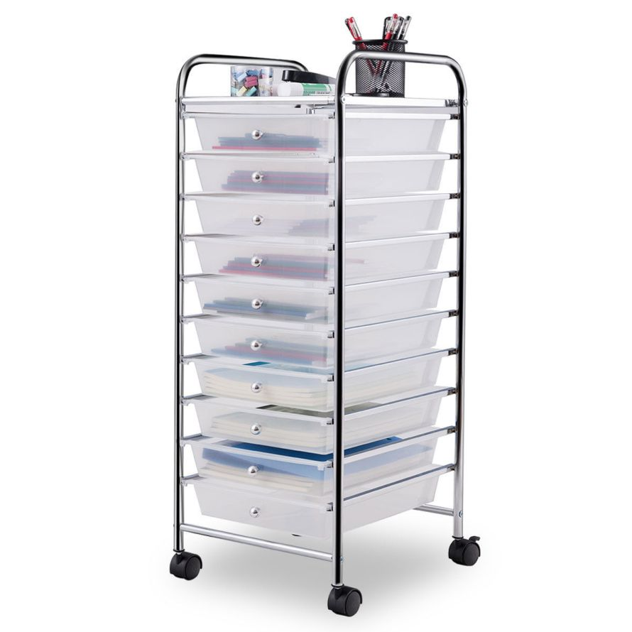 10 Drawer Rolling Storage Cart Scrapbook Organizer Clear.jpg